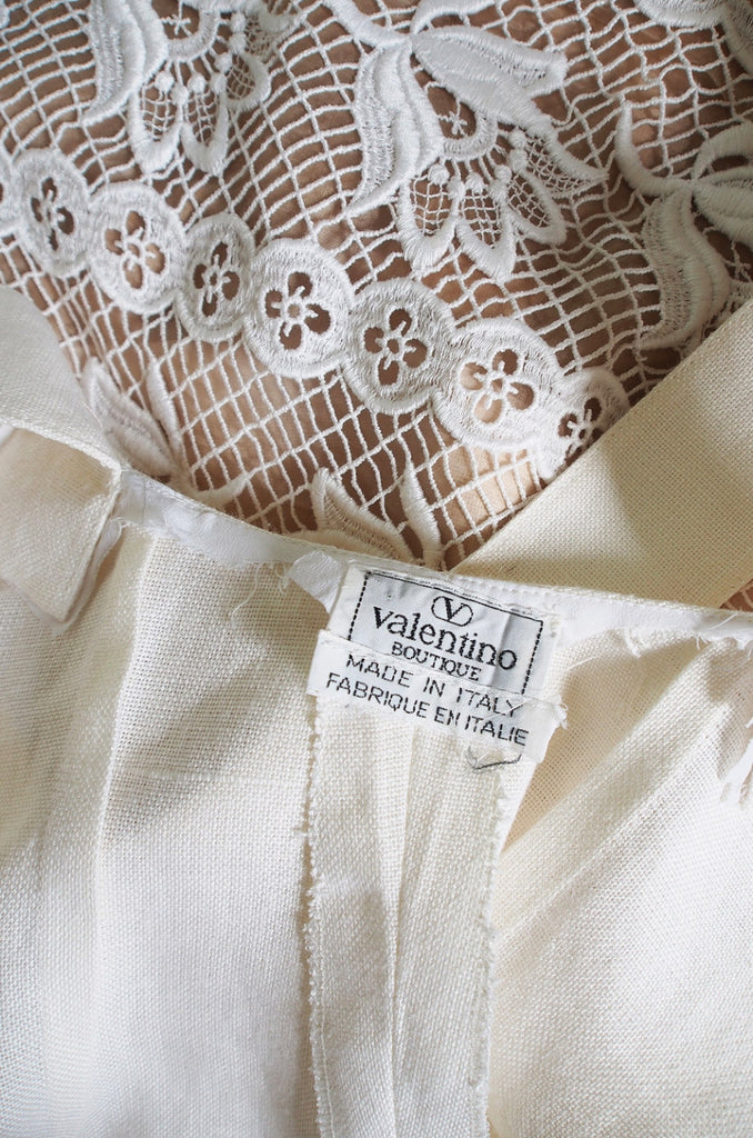 1970s Valentino Cross Back Linen Dress