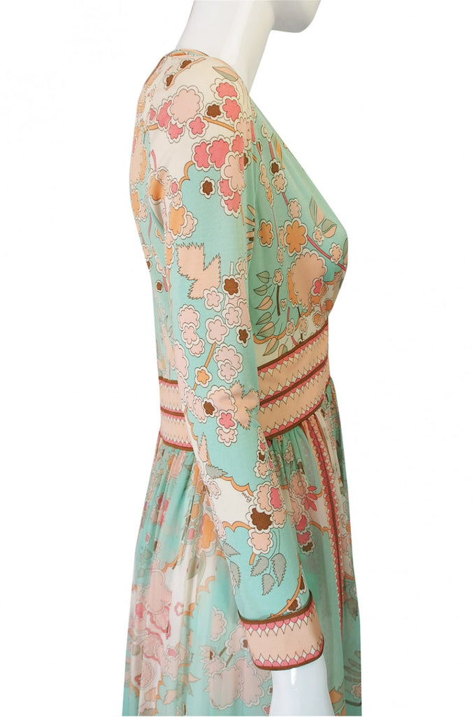1970s Soft Pastel Bessi Silk Maxi Dress
