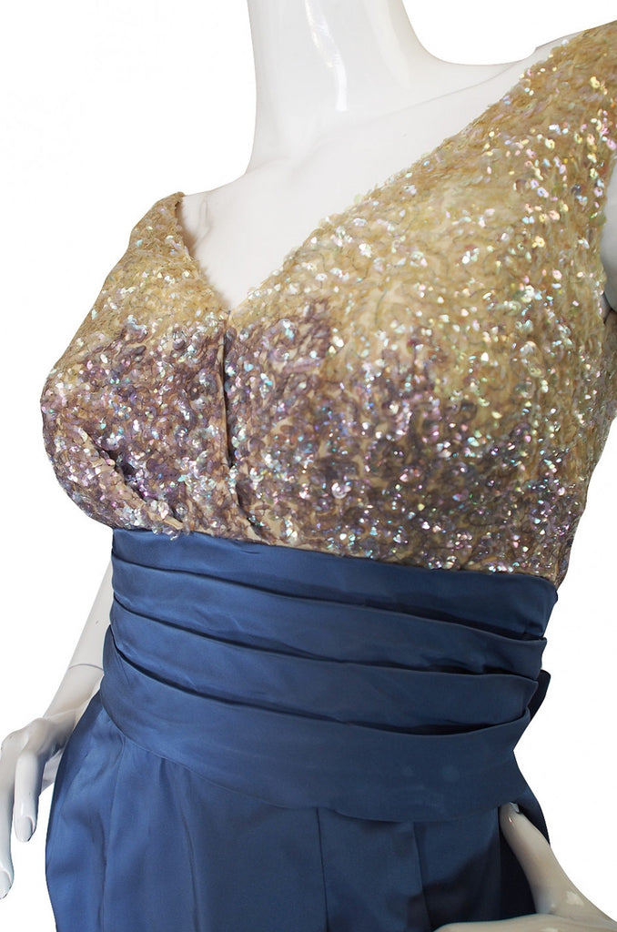 1950s Sequin and Silk Kay Selig Cocktail Dress