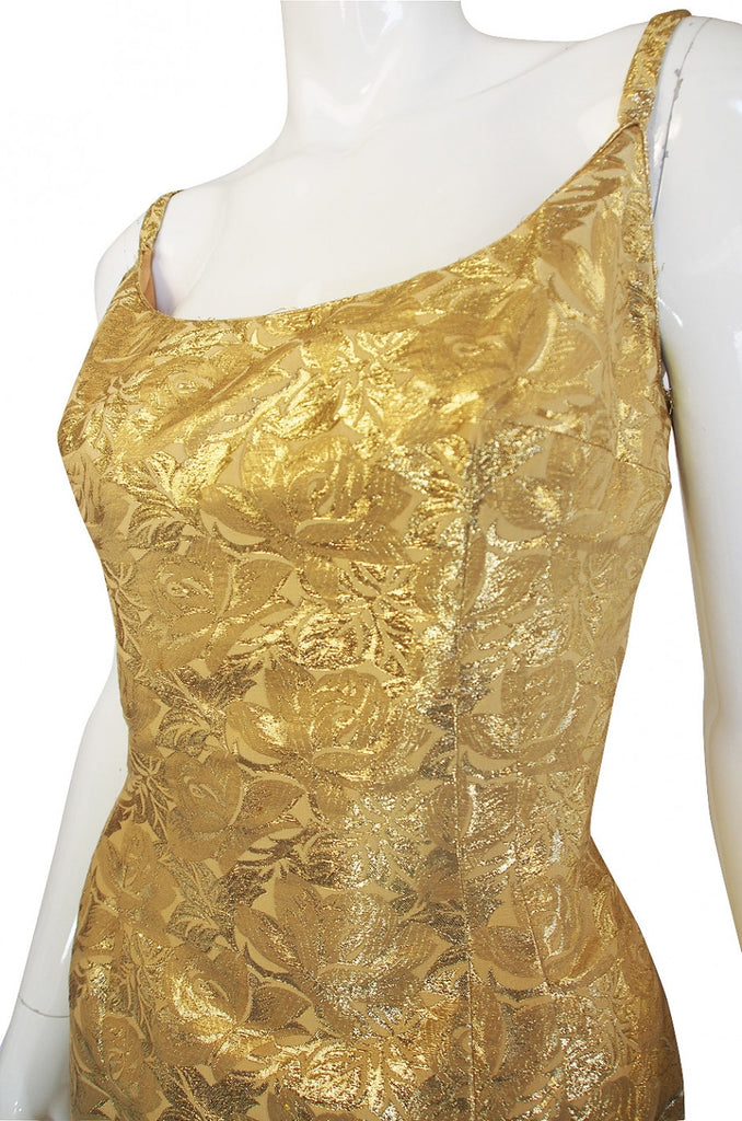1960s Mr Blackwell Gold Brocade Gown