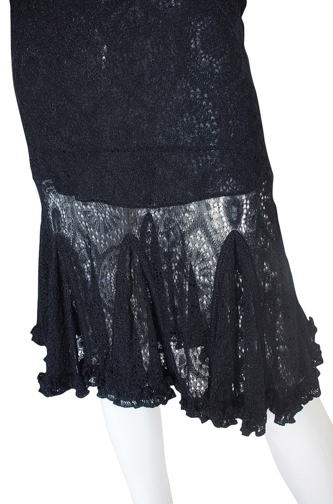 Recent Alaia Metallic Knit Lace Dress