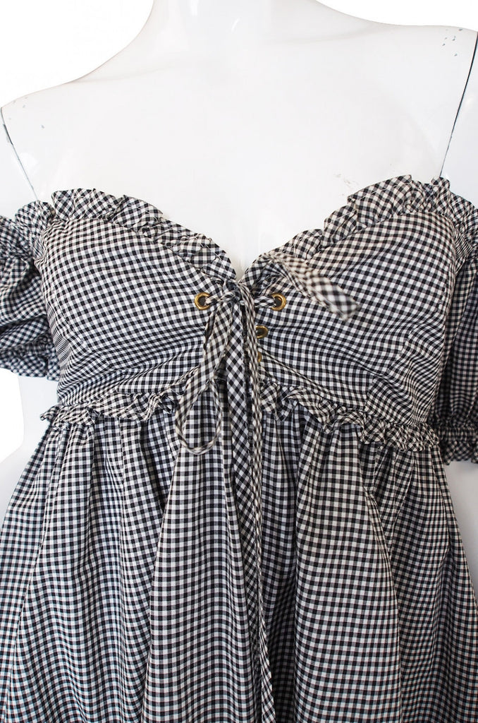 1990s Moschino Gingham Corset Mini Dress