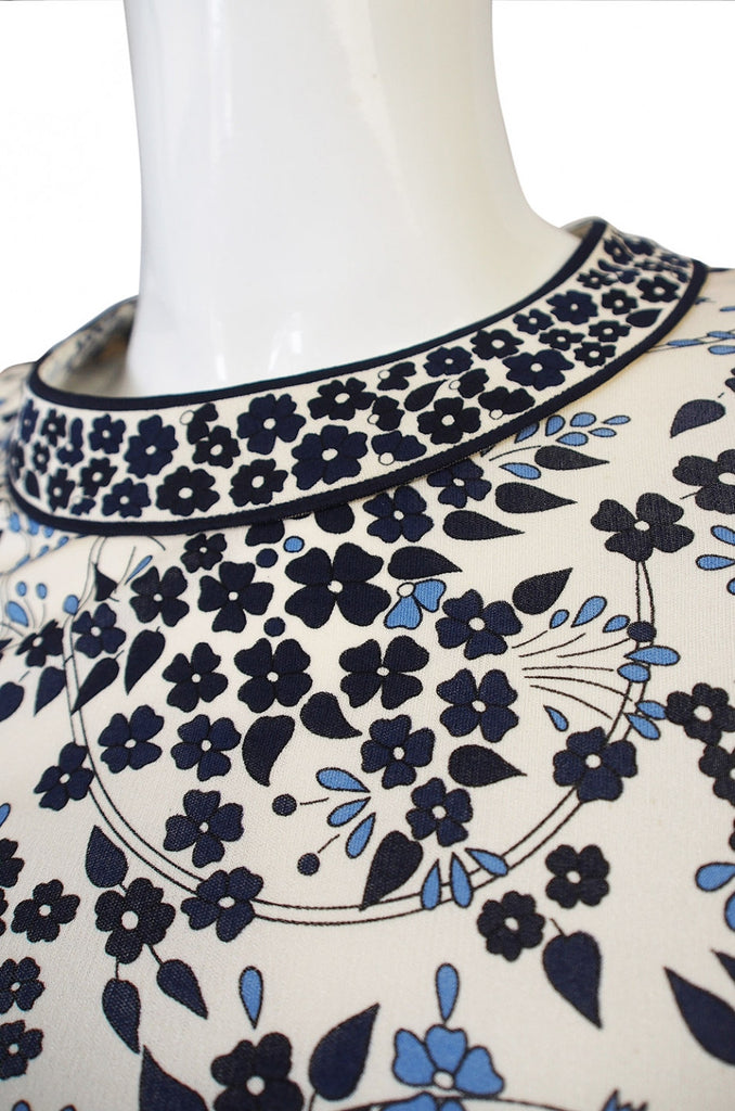 1970s Bessi White & Blue Print Dress
