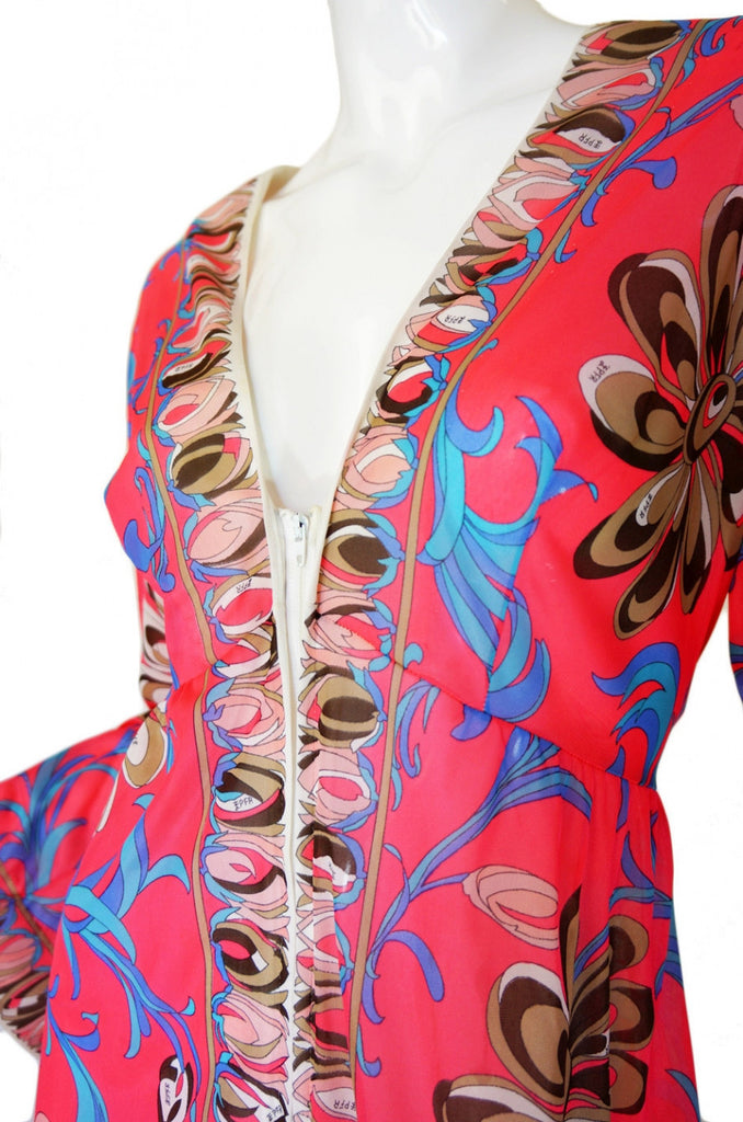 1960s Dramatic Coral Pucci Caftan Gown