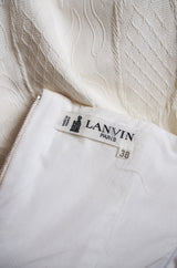1980s White Lanvin Brocade Dress