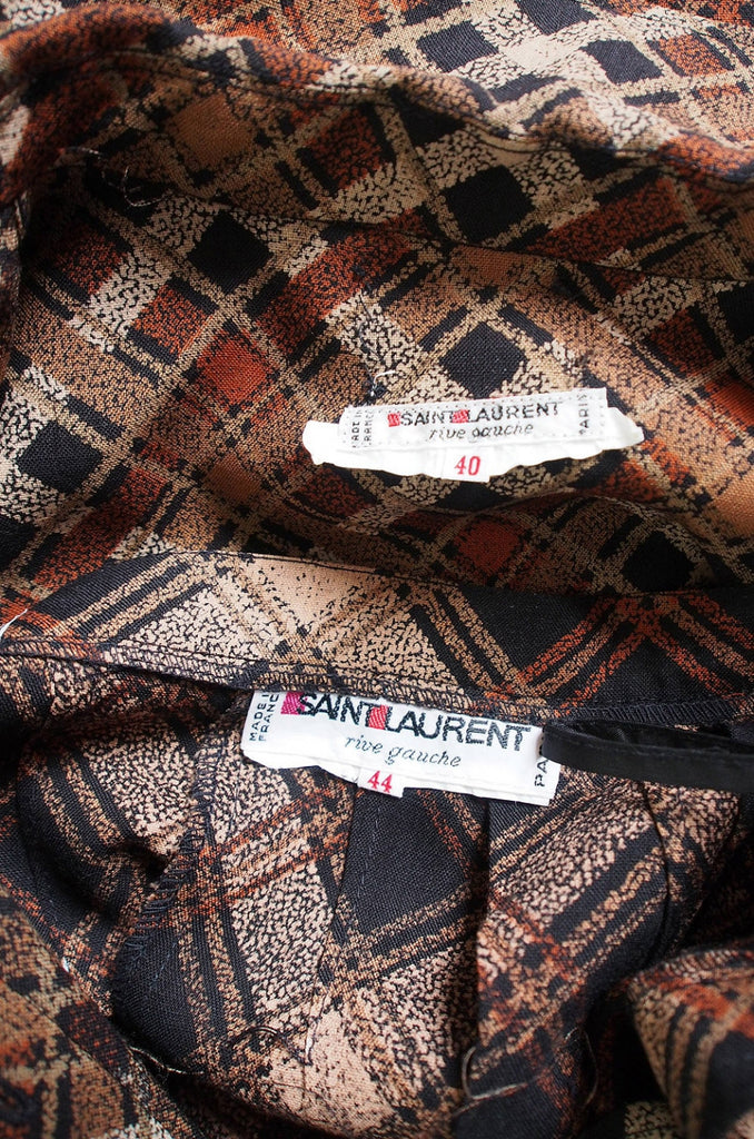 1980s Yves Saint Laurent Plaid Challis Set