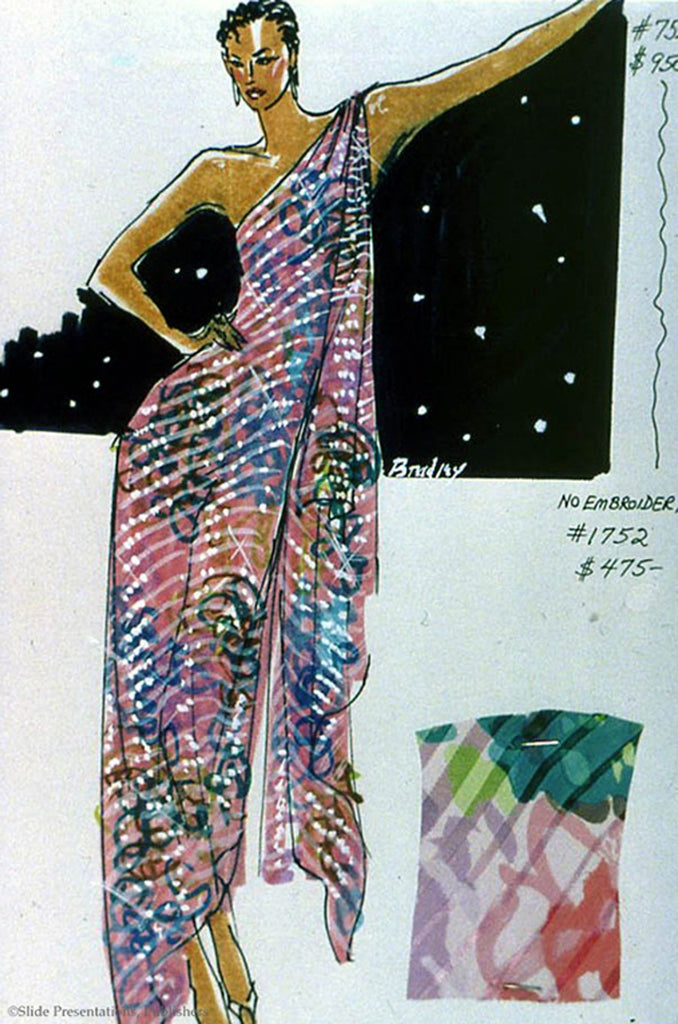 c.1983 Documented Mollie Parnis Silk Gown
