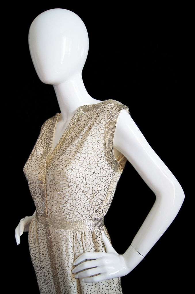 1960s Glam Beaded Malcolm Starr Gown