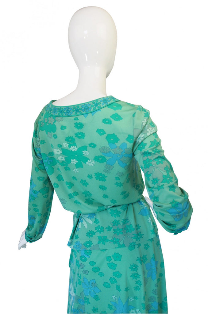 1970s Bessi Soft Greens Print Skirt & Top