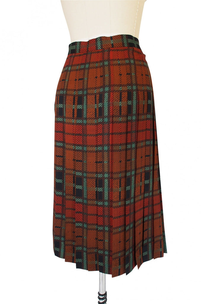 1970s Yves Saint Laurent Plaid Skirt
