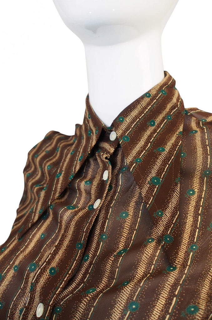 Rare 1960s Jeff Banks Pointed Collar Blouse