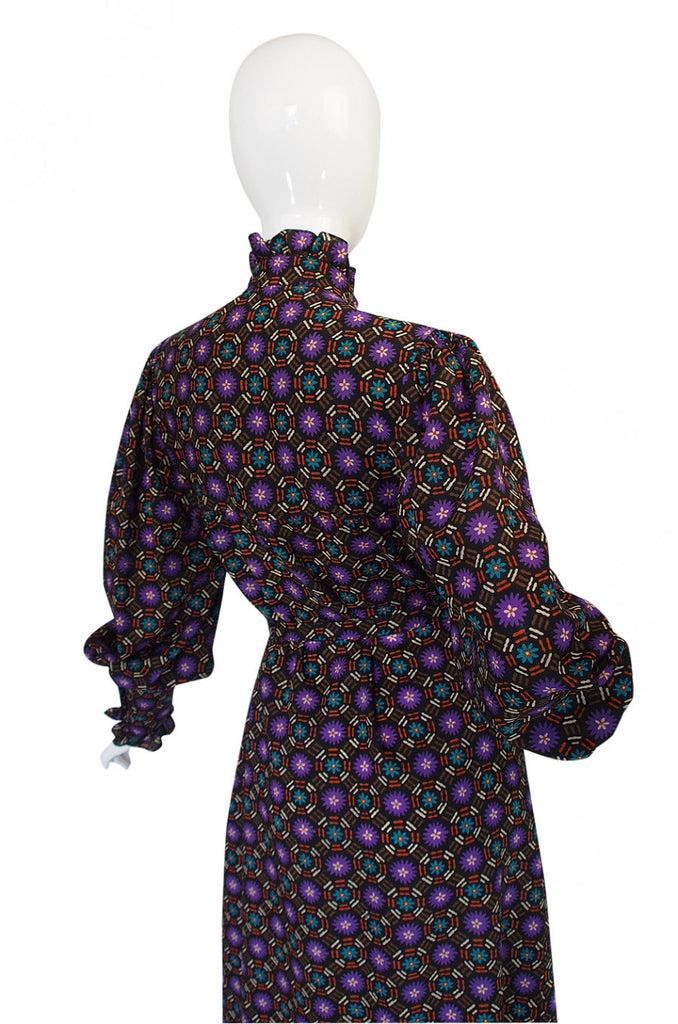 1970s Yves Saint Laurent Print Challis Dress