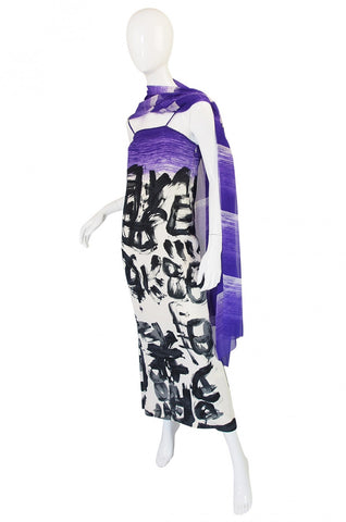 1970s Hanae Mori Silk Dress & Scarf w Purple & Graphic Print