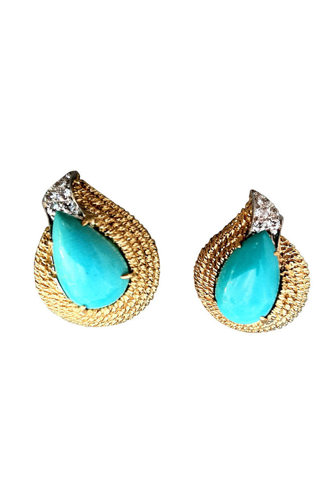 1960s DAVID WEBB Diamond & Turquoise Earrings