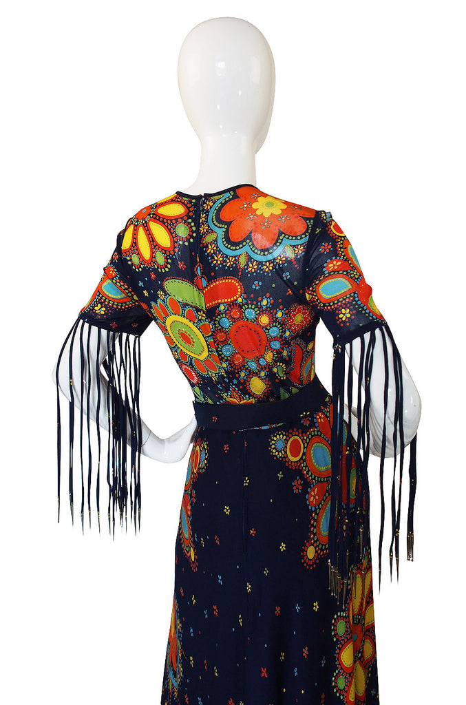 1970s Metal Tip Fringe Maxi Dress