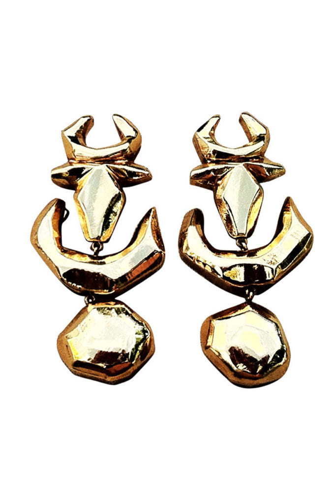 CHRISTIAN LACROIX Gilt Ear Drops 1990s