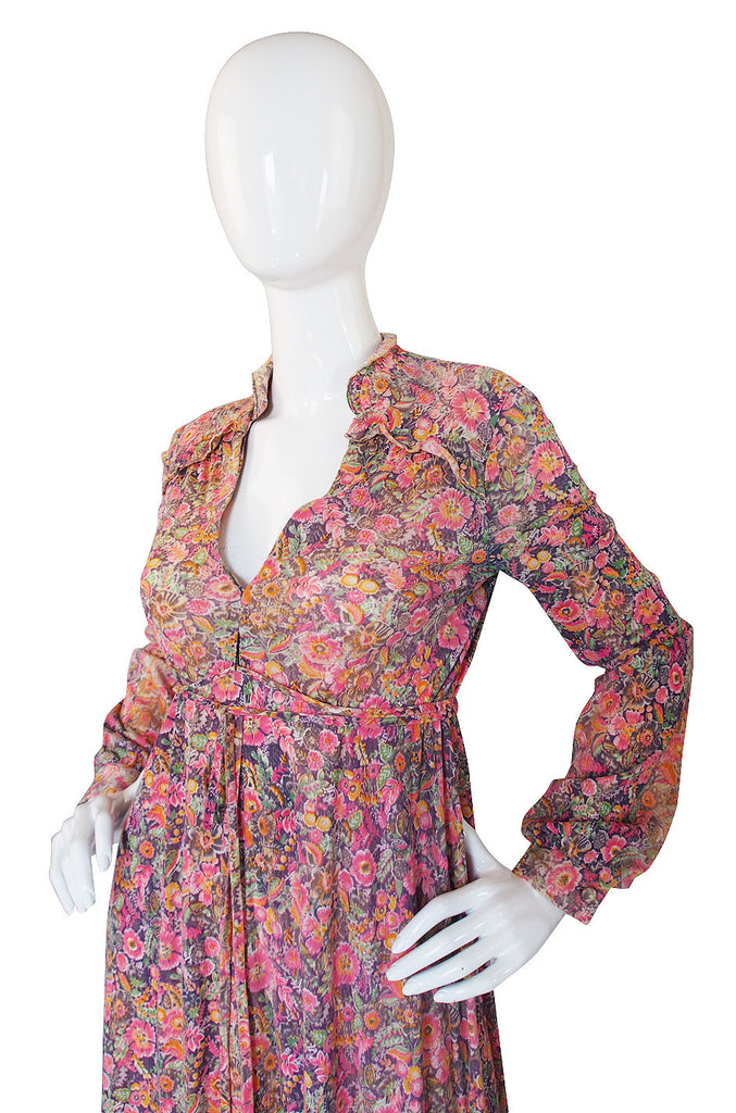 1970s Jody Soft Tee Pink Floral Dress