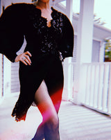 c.1988 Emanuel Ungaro Black Sequin Lace & Silk Satin Dress
