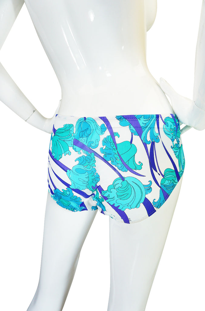 1960s Blue Floral Formfit Pucci Nylon Dress & Panties