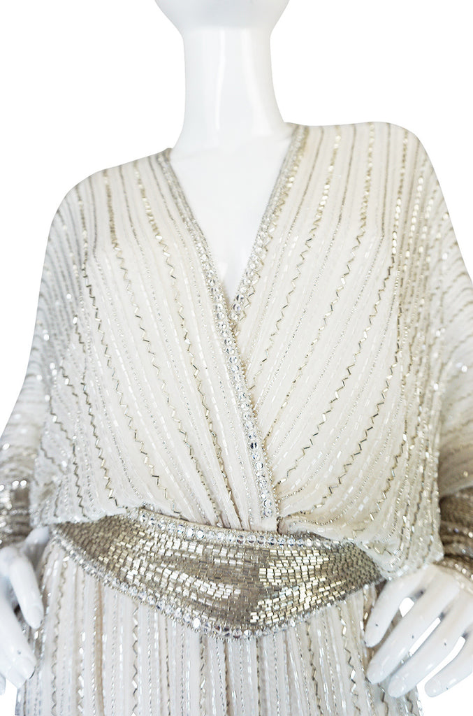 Incredible 1970s Bob Mackie Heavily Beaded Silk Dress