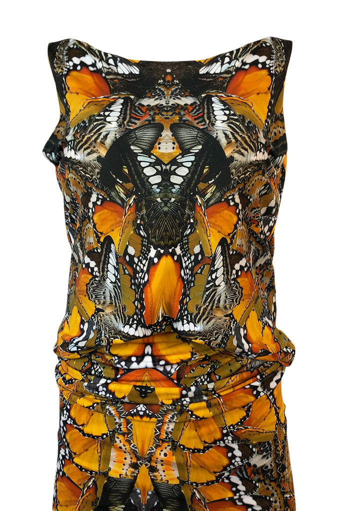 Recent Alexander McQueen Butterfly Print Back Draped Jersey Dress