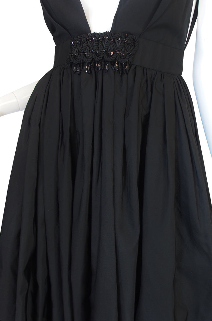 c1967 Plunging Black Silk George Halley Gown