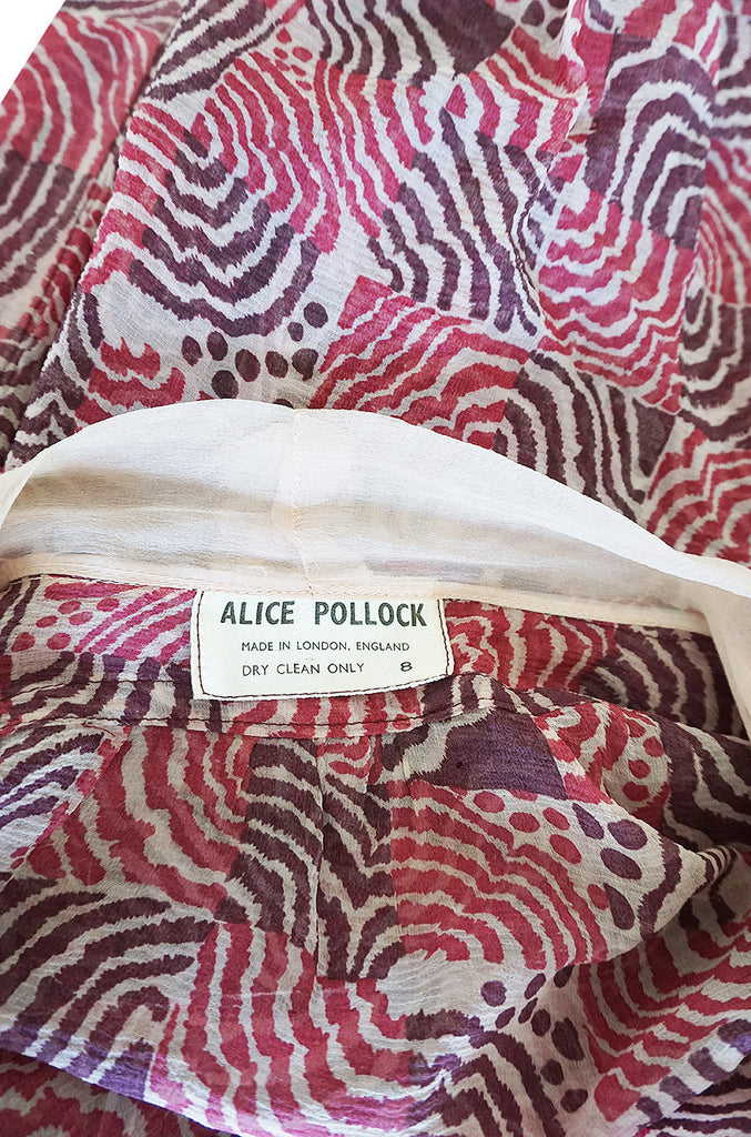 Rare 1960s Silk Crepe Alice Pollock Top