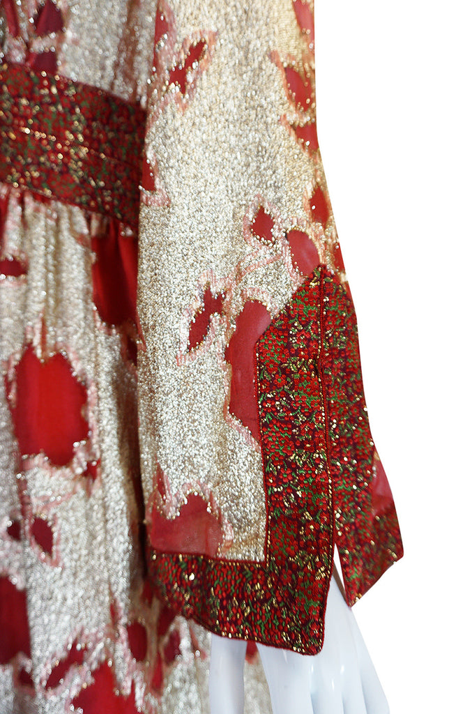 1970s Unlabelled Bill Blass Gold Lame & Red Silk Metallic Dress