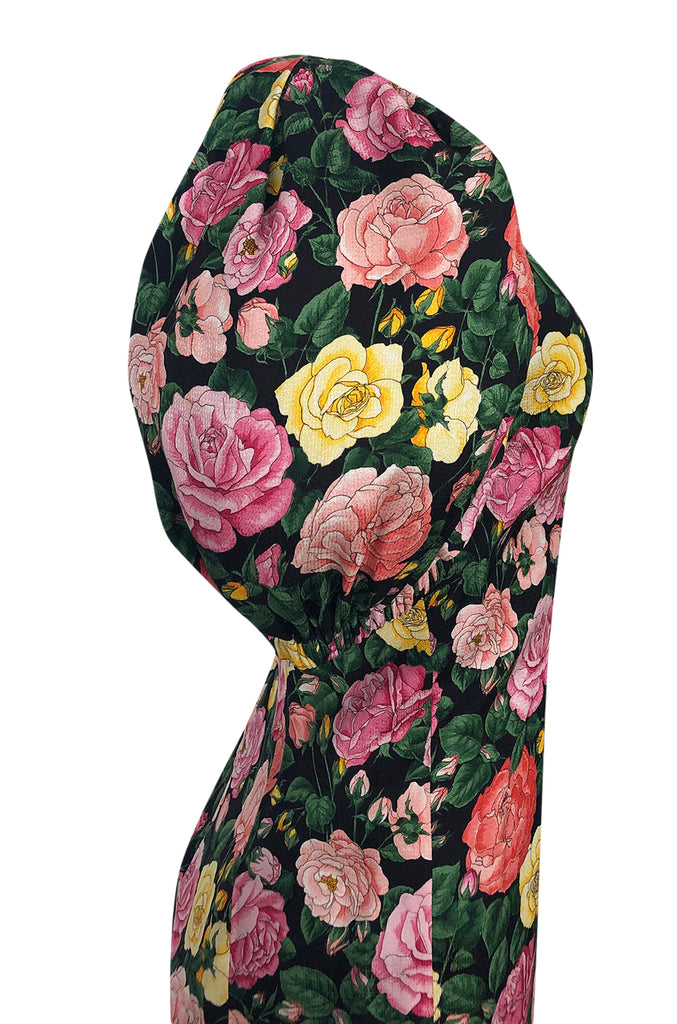 Spring 1992 Yves Saint Laurent Ad Campaign Pouf Sleeve Silk Floral Dress