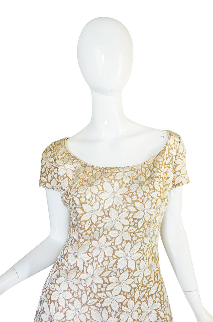 1960s Gold Silk Brocade Mr Blackwell Dress & Cape