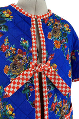 Rare 1971 Marion Foale and Sally Tuffin Blue Floral & Red Checked Pant Jacket & Hat Set