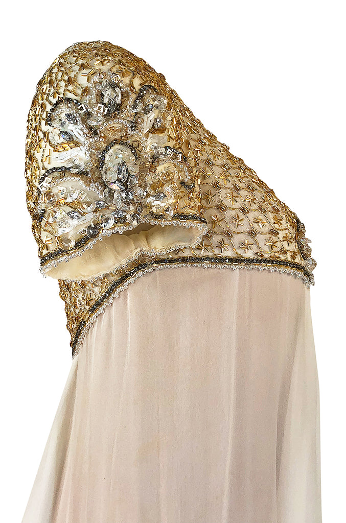 c.1958-1965 Helen Rose Hand Beaded Ivory Silk Chiffon & Gold Dress
