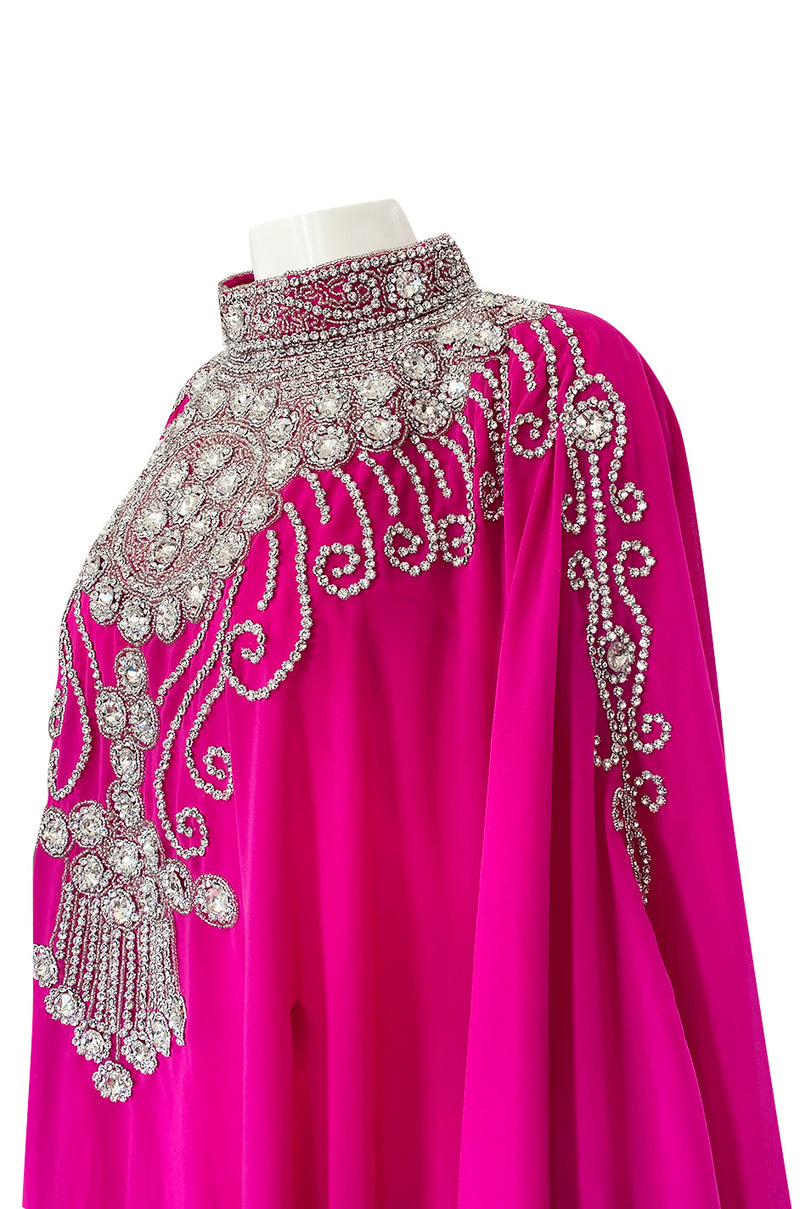 1980s Elaborate Crystal Covered Vibrant Pink Chiffon Caftan Dress