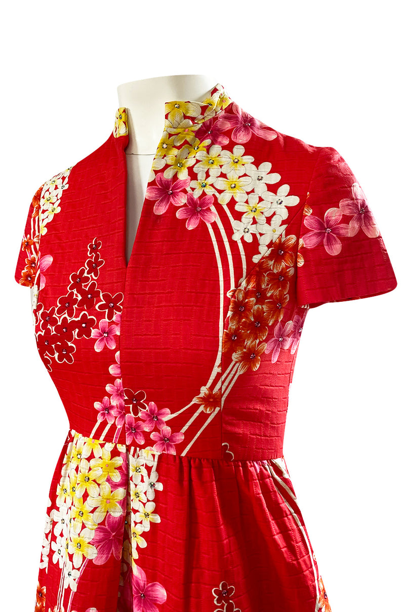 1970s Malcolm Starr Cherry Red Floral Print Dress w Rhinestone Detailing