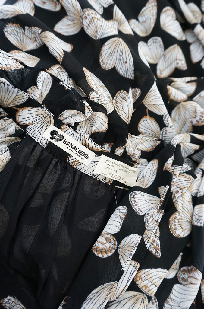 1970s Silk Butterfly Print Hanae Mori Caftan Dress