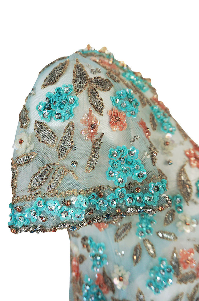 1960s French Pale Blue Hand Beaded & Sequin on Net Dress