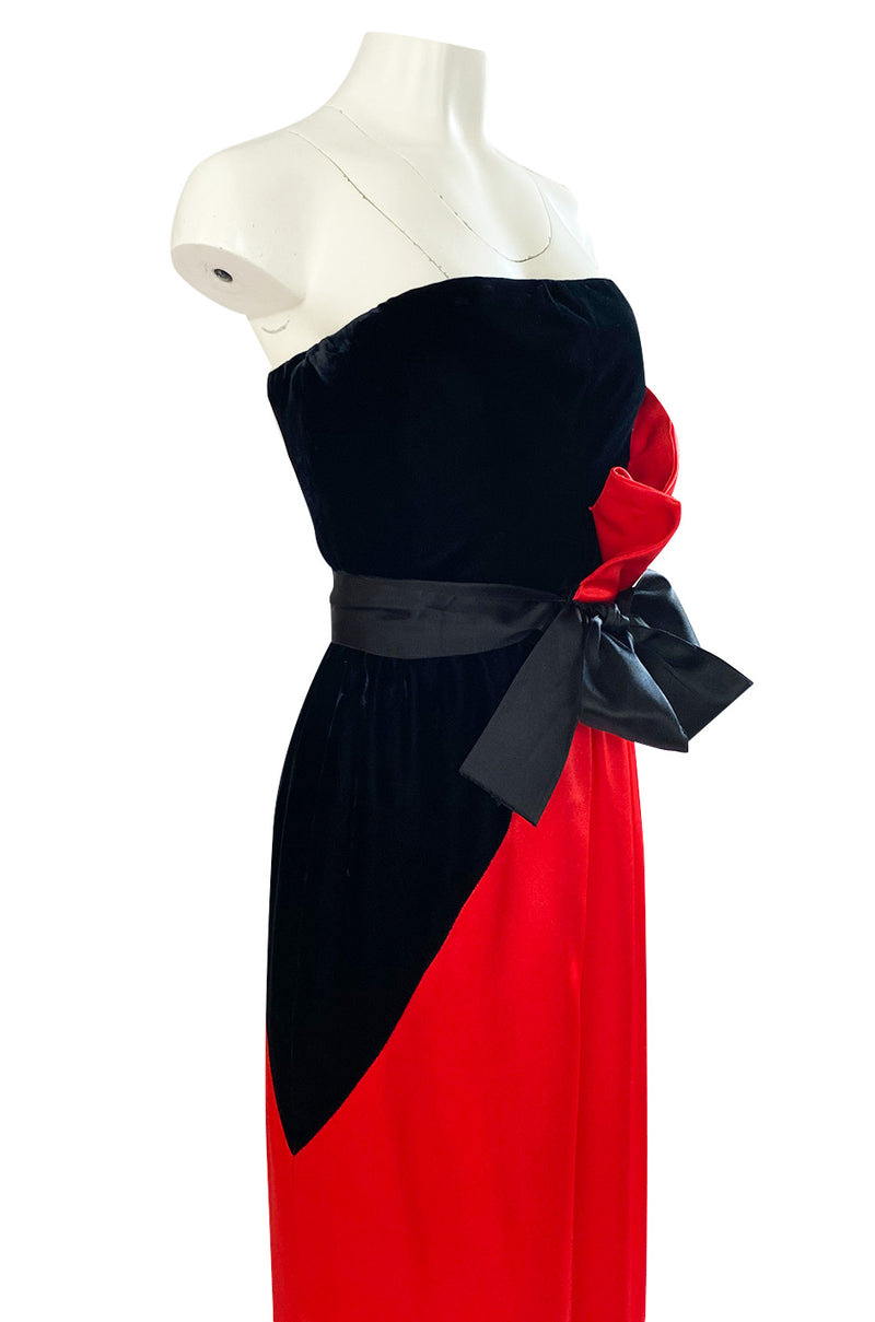 Dramatic 1970s Bill Blass Red Silk & Black Velvet Strapless 'Flame' Dress