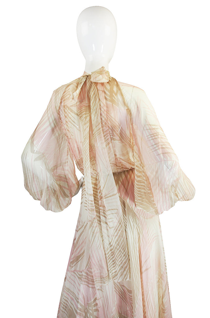 S/S 1974 Christian Dior by Marc Bohan Haute Couture Palm Print Silk Plunge Dress