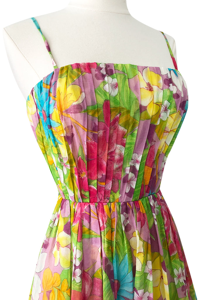 1950s Nat Kaplan Pleated Bodice Insanely Pretty Floral Print Dress
