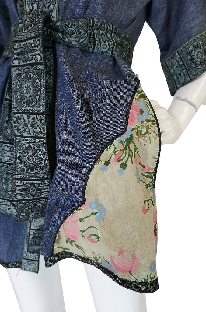 Early 1970s Roberto Cavalli Denim & Painted Leather Jacket