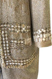 c.2004 Blumarine Elaborate Silver Metal Sequins, Disc, Shell & Bead Silk Jacket