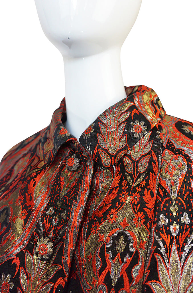 Spectacular 1960s Gold & Red Silk Brocade Christian Dior Coat