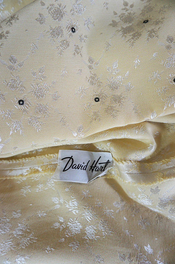 1950s David Hart Pale Yellow Brocade & Rhinestone Dress