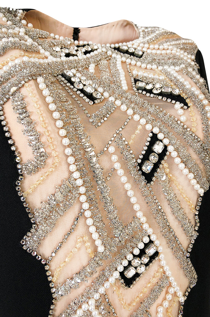 1960s Mr Blackwell Custom Label Crystal, Bead and Pearl Illusion Dress