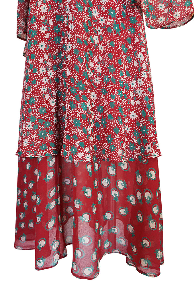 c.1969 Ossie Clark Dress w Iconic Celia Birtwell 'Pineapple' Print