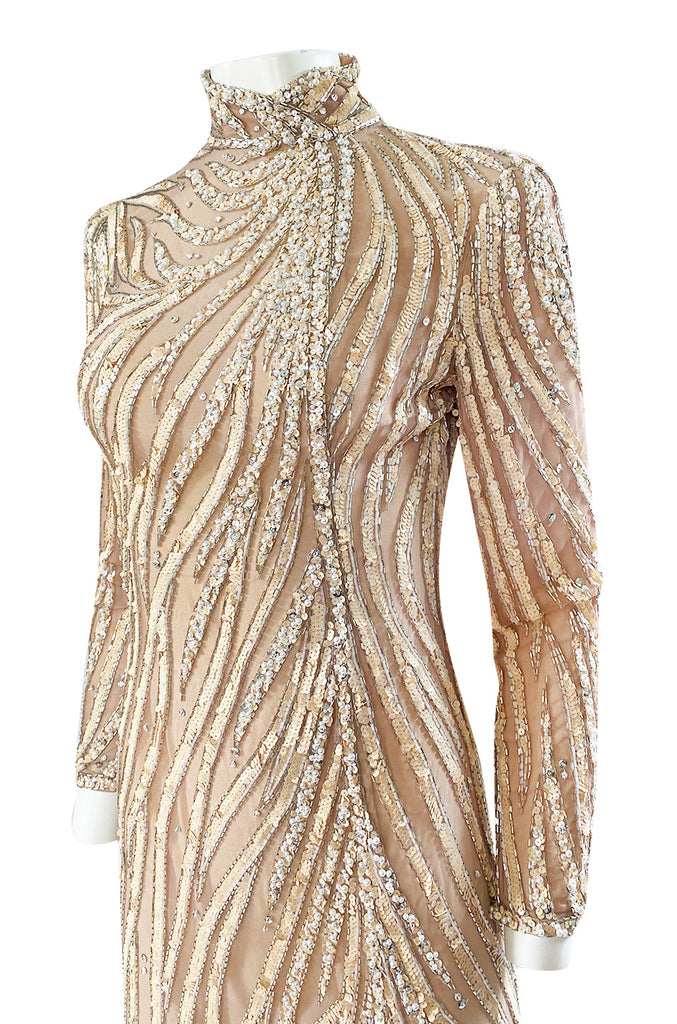 1980s Bob Mackie Ivory Sequin & Nude Stretch Net High Slit Dress