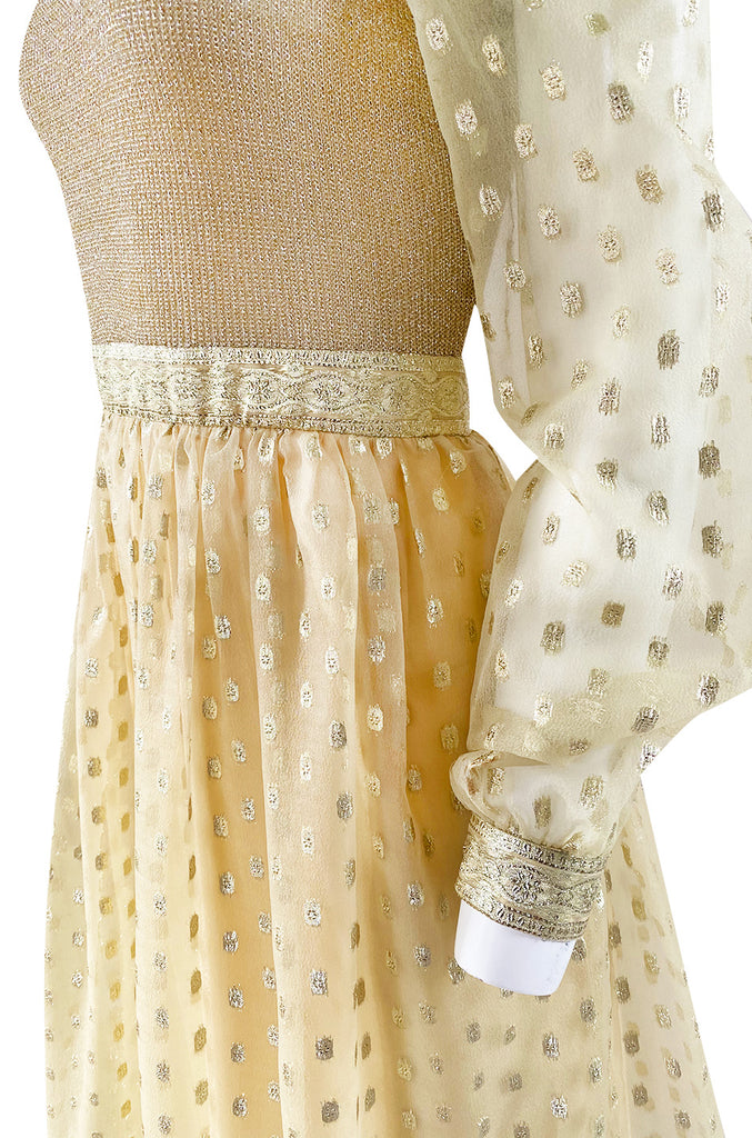 1960s Mannequin Pale Gold Metallic Lame & Organza Maxi Dress