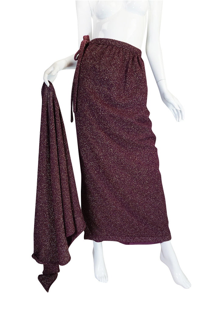 1970s Wine Knit Lanvin Skirt and Multi Tie Wrap Top
