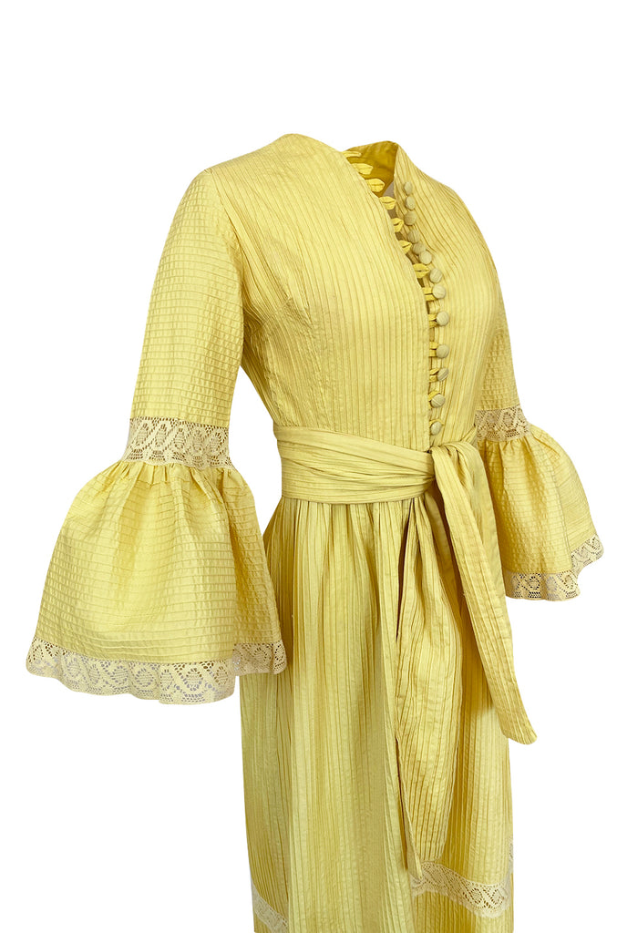 1960s Yellow Mexican Pin Tuck Dress w Extraordinary Bell Sleeve Detail
