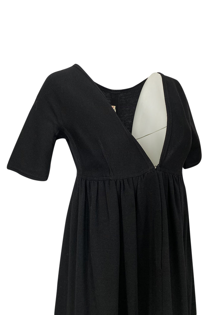 1960s Rudi Gernreich for Harmon Knits Deep Front Plunge Black Dress
